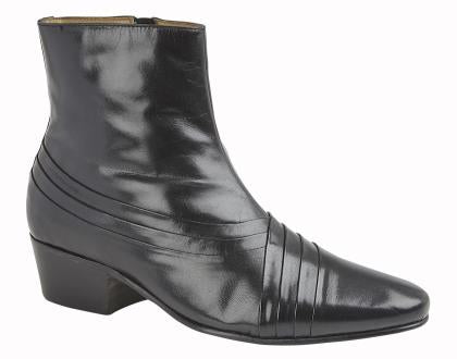 Mens Kensington Pleated Cuban Heel Ankle Boot
