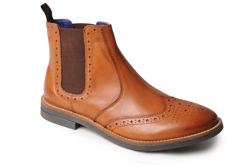 Catesby Mens Twin Gusset Leather Brogue Ankle Boots