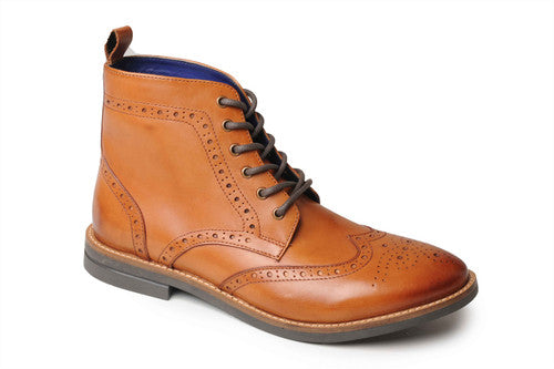 Catesby Mens Leather Brogue Ankle Boot