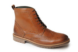 Catesby Mens Leather Lace-Up Brogue Ankle Boots