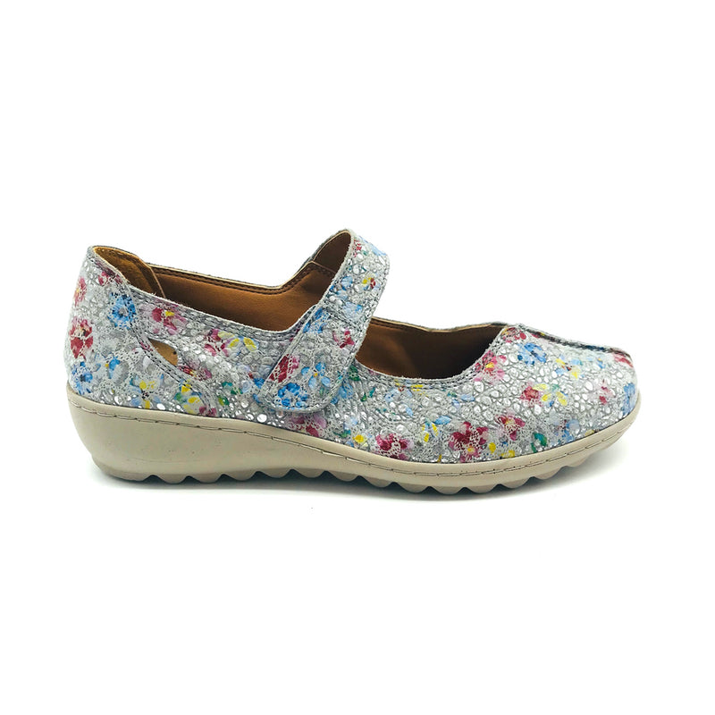 TALK Ladies Blue Floral Shoe Christie