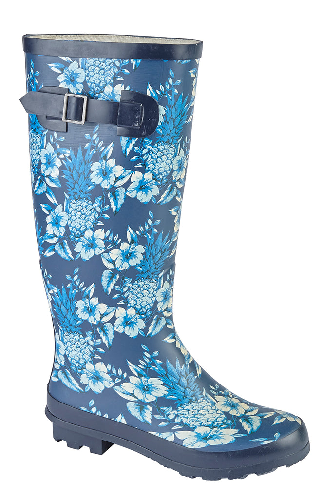 Ladies Navy Floral Print Wellie