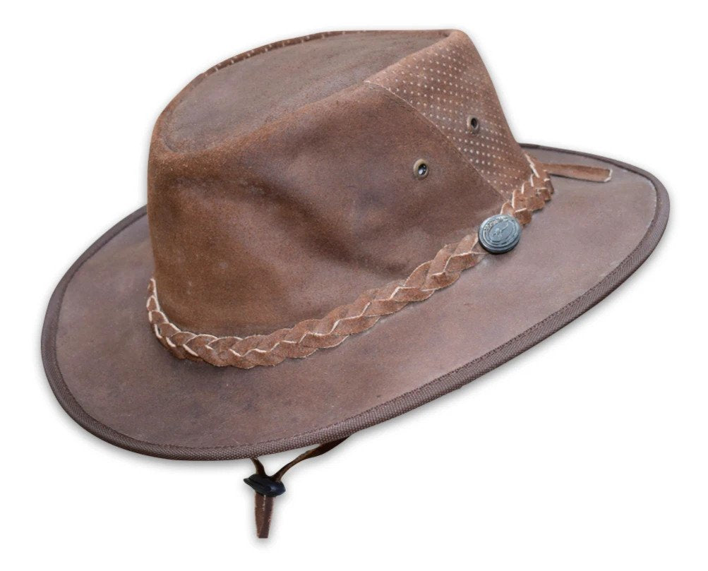 Australian Style Leather Hat W/ Rear Mesh Vented and Leather Strap
