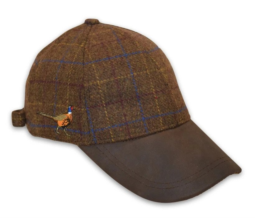 Brown Tweed Baseball Cap with Pheasant Embroidery (One Size) Adjustable