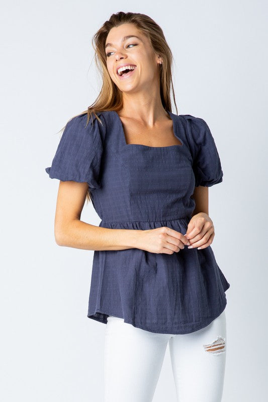 <p>Puff Sleeve Square Neck Blue Top</p>