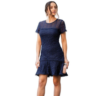 <p>Frill Hem Lace Dress</p>