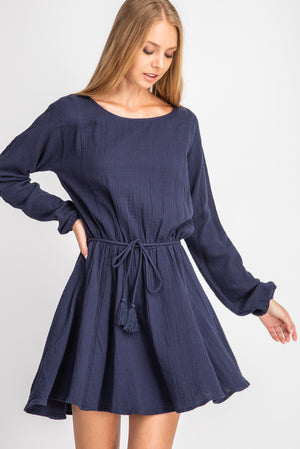 Crinkled Gauze Tassel Dress