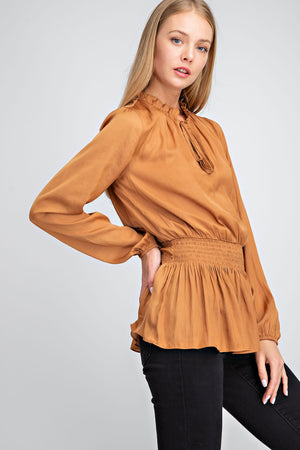 Tie Front Smocked Blouse