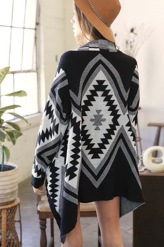 <p>Geometric Hi Lo Knit Cardigan</p>