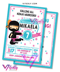 American Ninja Warrior Birthday Invitation for girls
