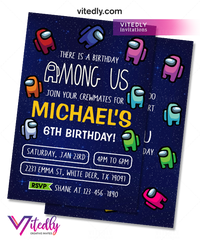 Among Us Invitation Among Us Party Invitation, Birthday Invitation, Among Us Birthday Invitation, Video Game Invitation