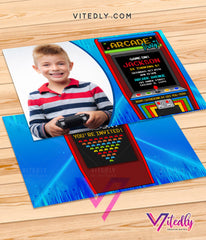 Arcade Invitation with Photo, Arcade Birthday Party Invitations, Retro Arcade Party Invitation