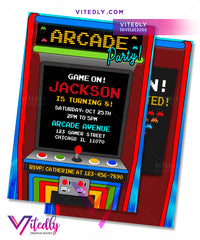 Arcade Invitation, Arcade Birthday Party Invitations, Arcade Birthday Invitations