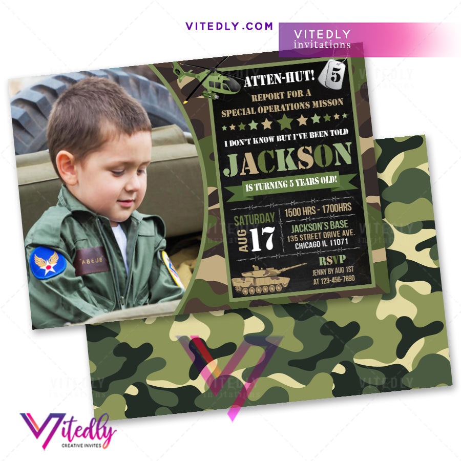 Military Birthday Invitation, Army Invitation, Army Birthday Invitation