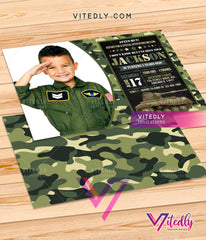 Army Invitation, Army Birthday Invitation, Military Birthday Invitation