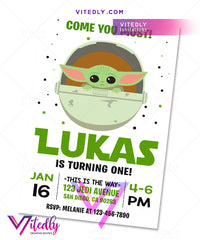 Baby Yoda Birthday Invitation Mandalorian