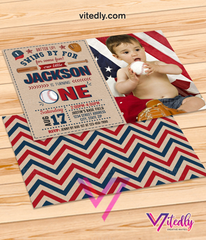 First Baseball Birthday Invitation with Photo