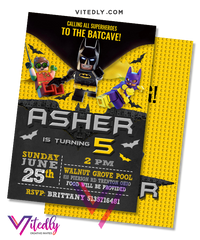Batman LEGO Birthday Invitation
