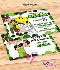 Ben 10 Birthday Invitations with Free Thank you card