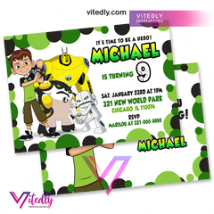 Ben 10 Invitations with Free Thank you card