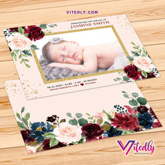 Floral Baby Birth Announcement