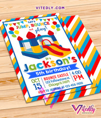 Bounce House Invitation for boys, Bounce Castle Invitation for boys, Jump Invitation for boys, Bounce Party