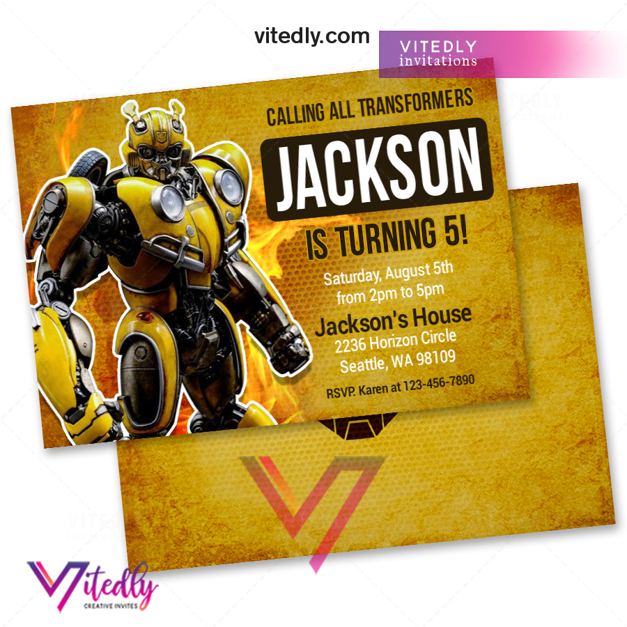 BumbleBee Birthday Invitation, Transformers Invitation