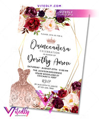 Burgundy Floral Quinceañera 15th Invitation