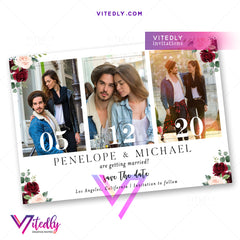 Burgundy Floral Save the Date Photo Invitation