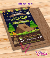 Camping Invitation for boys, Camping Birthday Invitation for boys, Hiking Invitation for boys