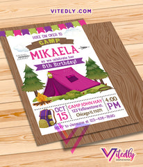 Camping Invitation for girls, Camping Birthday Invitation for girls, Camping Party for girls, Sleepover Invite