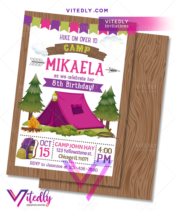 Camping Invitation, Camping Birthday Invitation, Camping Party, Sleepover Invite