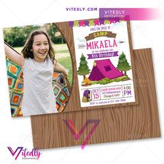 Camping Birthday Invitation for girls, Camping Invitation for girls with Photo