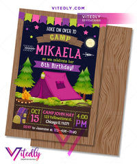 Camping Birthday Invitation for girls, Camping Invitation for girls, Hiking Party Invitation for girls