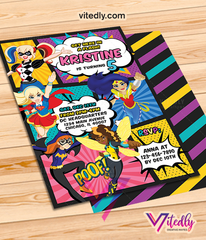 DC Superhero Girl Birthday Invitation, DC Superhero Girl Invitation