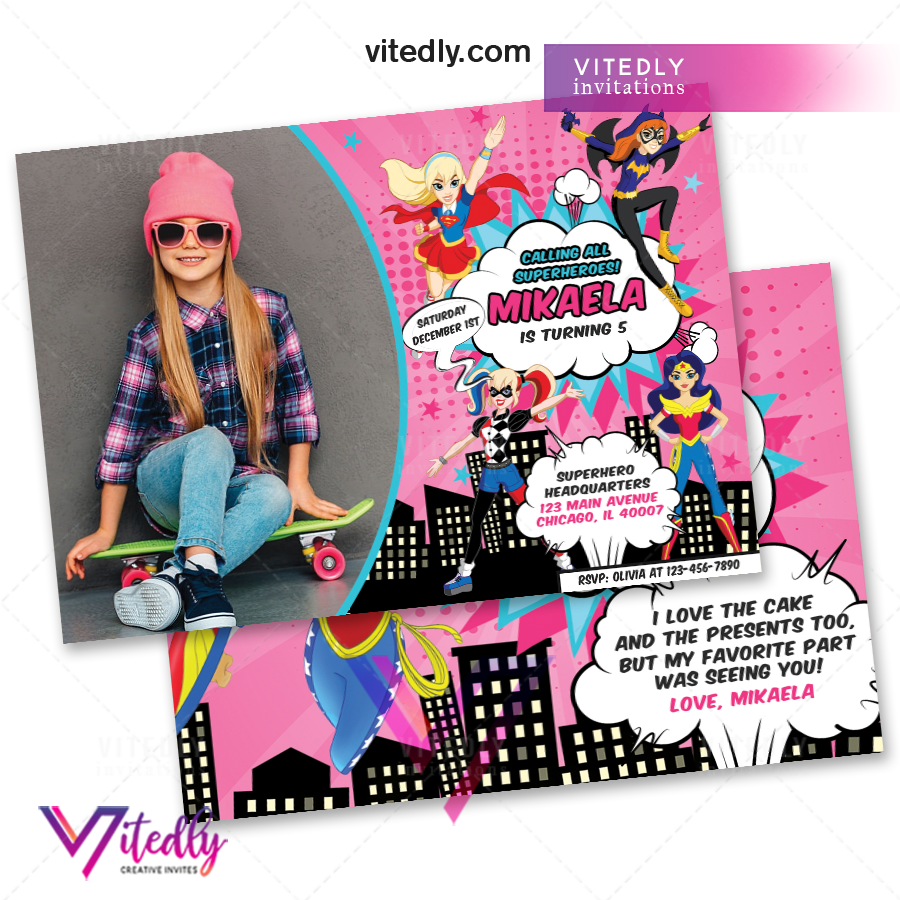 DC Superhero Girl Birthday Invitation,  DC Superhero Girls Invitation