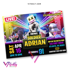 DJ Marshmello Birthday Invitation