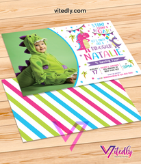 Dinosaur Invitation, Dinosaur Birthday Invitation for Girls with Photo