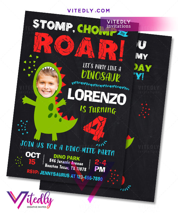 Dinosaur Invitations, Dinosaur Birthday Invitations, Dino Party Invitations