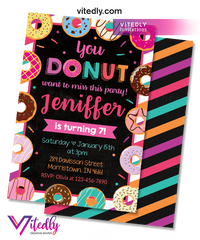 Donut Invitations, Donut Birthday Invitation