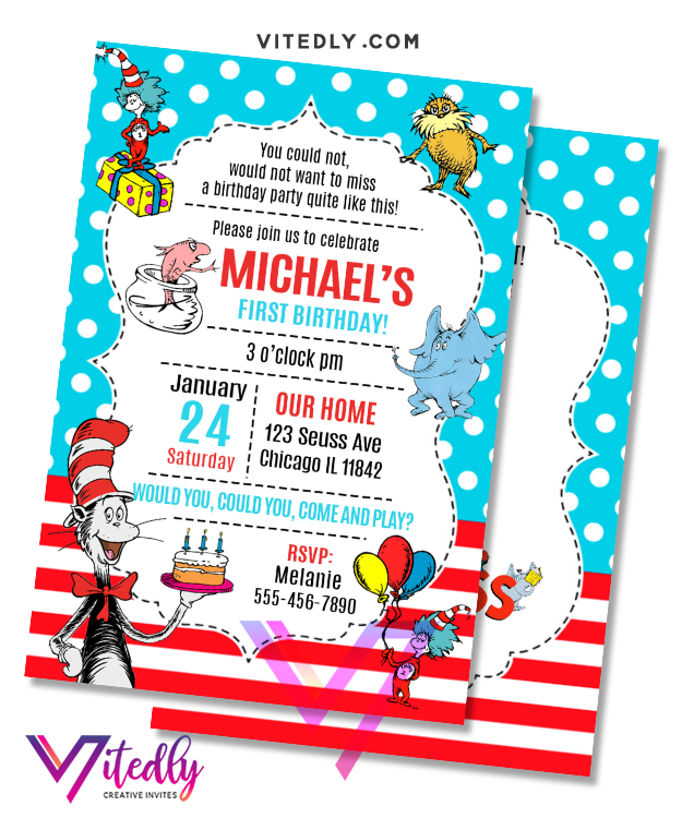 Dr Seuss Birthday Invitation