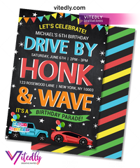 Drive By Birthday Parade Invitation for boys
