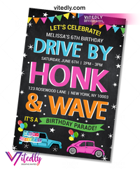 Drive by Birthday Invite for girls