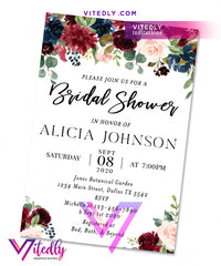 Floral Burgundy Bridal Shower Invitation