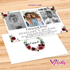 Floral Burgundy Engagement Party Invitation