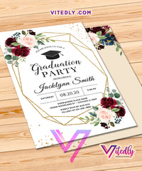 Floral Burgundy Graduation Party Invitation