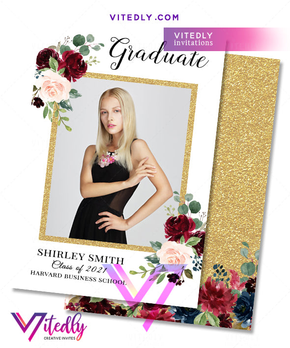 Gold Burgundy Graduation Announcement