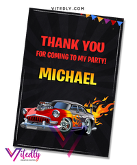 Hot Wheels Thank you card