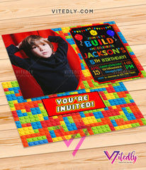 LEGO Invitations with Photo, Building Blocks Invitations with Photo