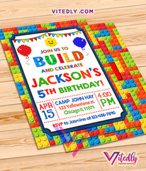 Lego Theme Birthday Invitation, Building Blocks Invitation, Lego Invitations
